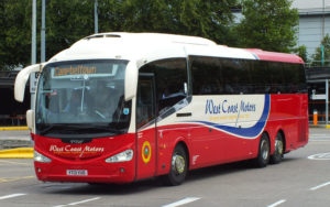 red and cream west coast motors coach