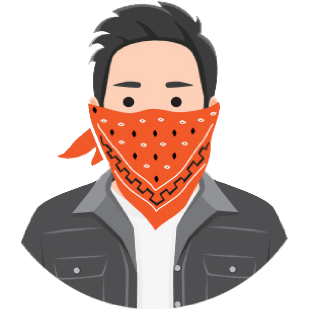 icon of man with red scarf as face covering