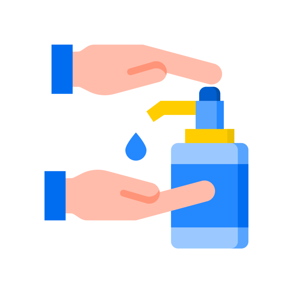 icon of hands at hand sanitiser bottle